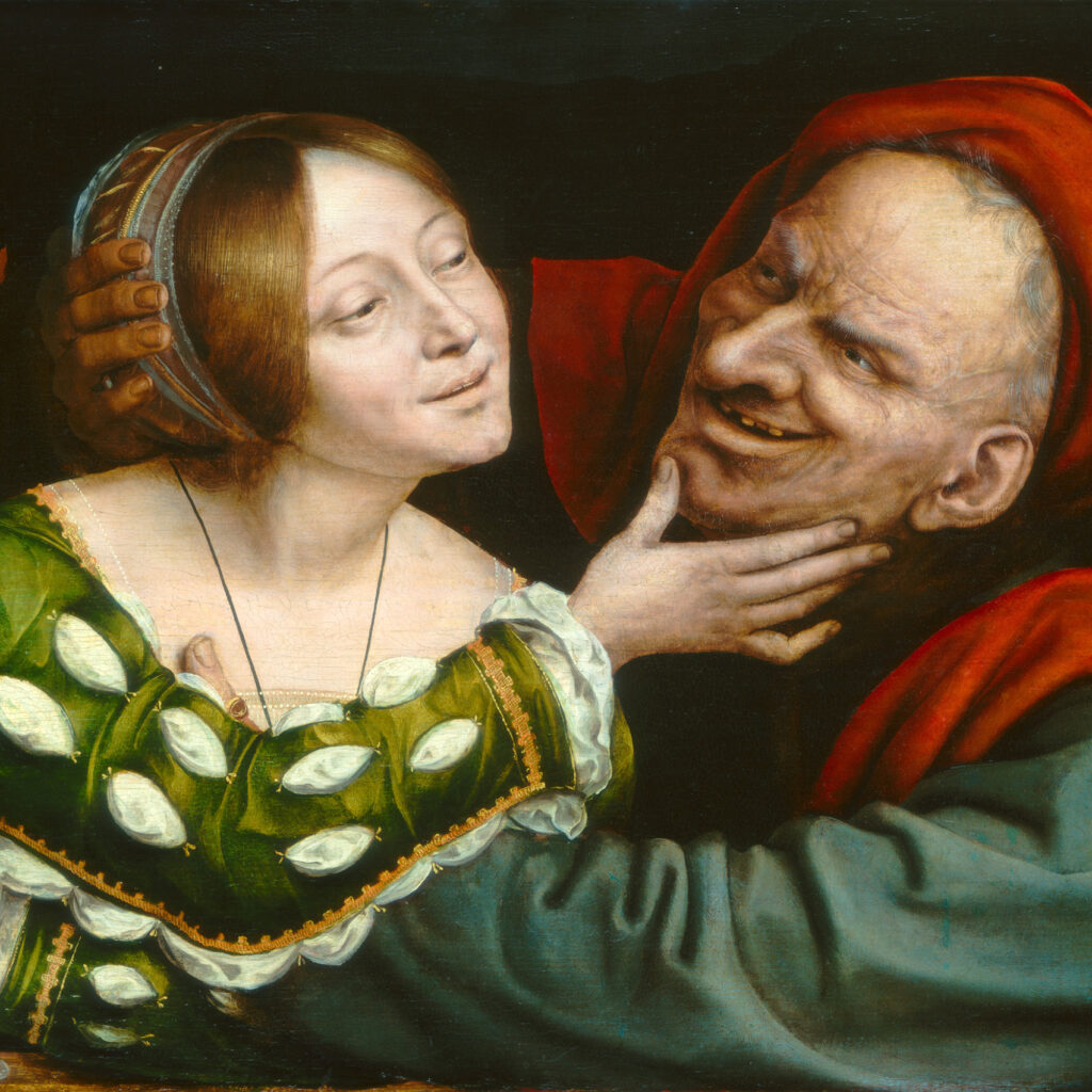 Painting of an old man embracing a young woman, who caresses his face