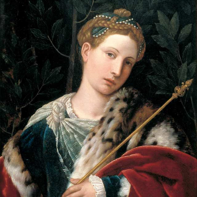 Painting of the courtesan Tullia d'Aragona as Salomè, posing with a gold scepter