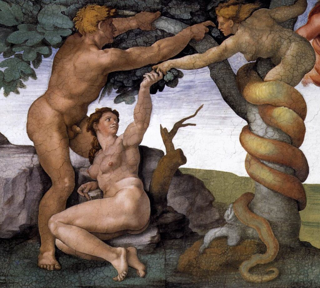 A painting by Michelangelo of Adam and Eve accepting the fruit from the snake, which takes the form of a woman