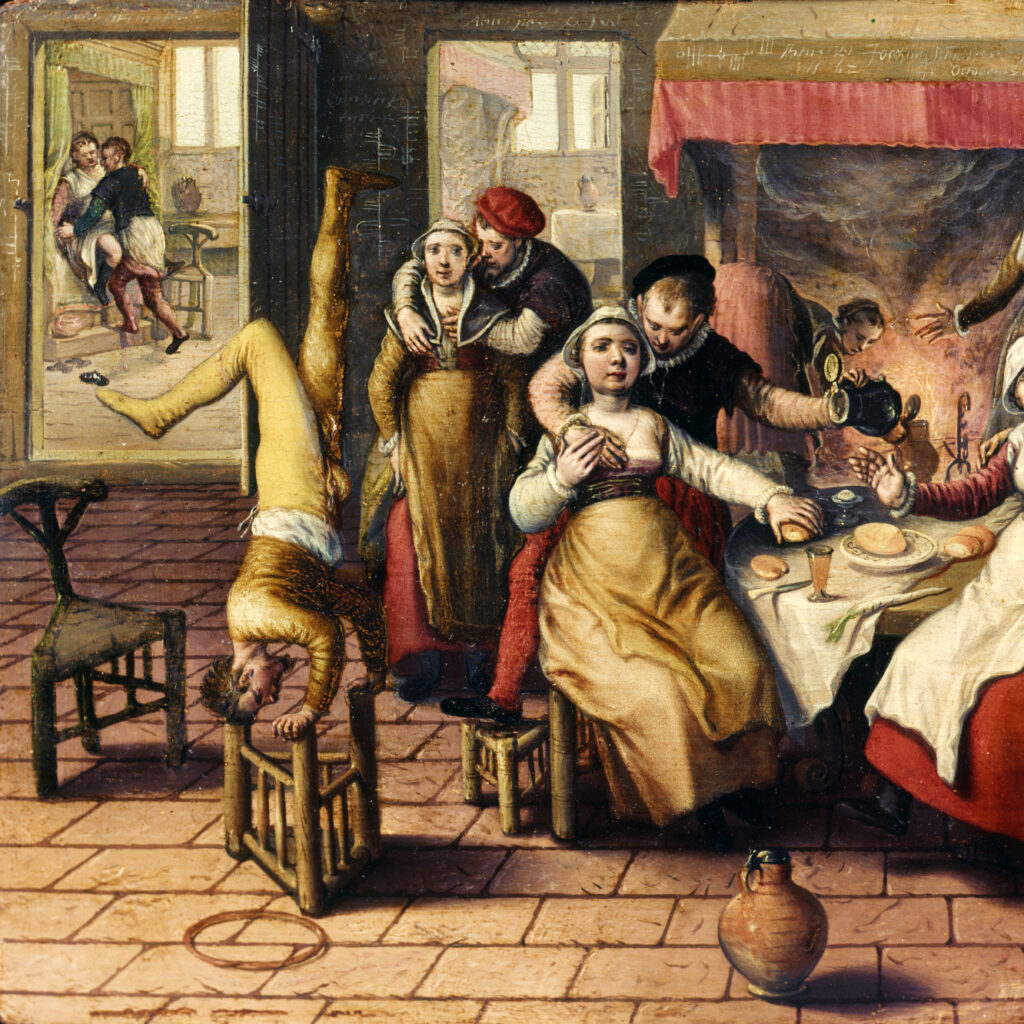 Painting of a crowd of people making merry in a brothel. Men grope the breasts of sex workers, an acrobat does a handstand on a stool, and in the background a man and a sex worker are climbing into bed.