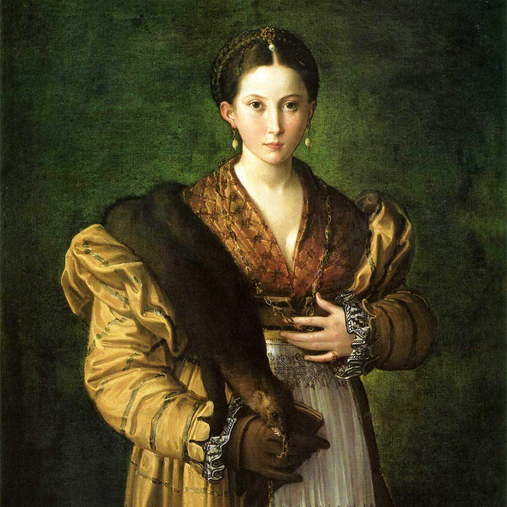 detail of a portrait painting of a woman in a striped yellow gown with a gold partlet, a zibellino, and a white apron with blackwork embroidery