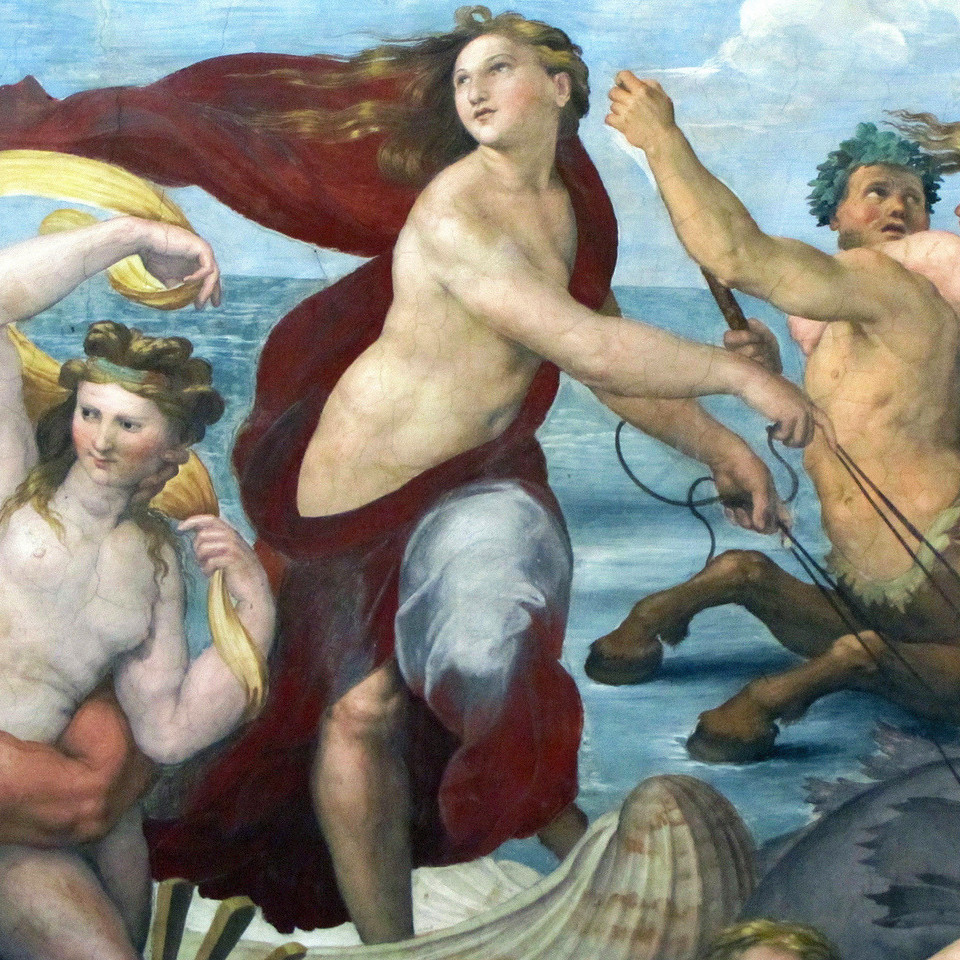 detail of a fresco featuring the courtesan Imperia Cognati as the Nereid Galatea from ancient Greek mythology
